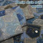 デニム風プリント ポケット