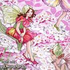 USA Cotton 花と妖精 ボーダー柄ピンク
