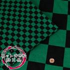ニットの市松 緑×黒