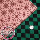 Wガーゼ ブロックチェック&麻の葉