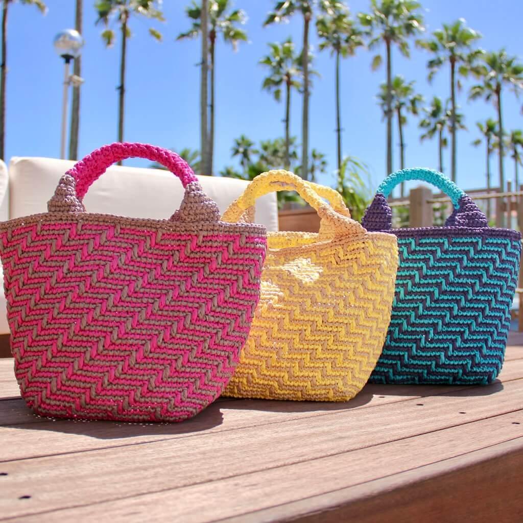 かぎ針編み/スクエア編み/マルシェバッグ/トートバッグ