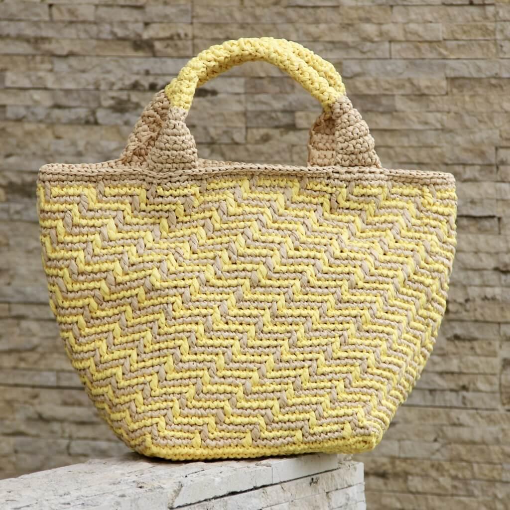 夏手芸スクエア編みのマルシェバッグ