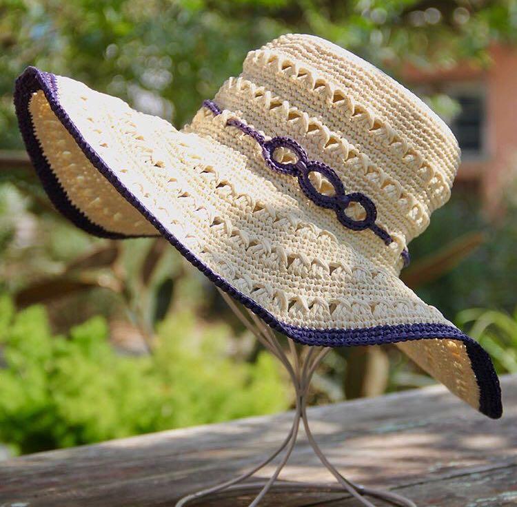 ラフィア風手芸糸コットンラフィアで編むおしゃれな透かし編み女優帽