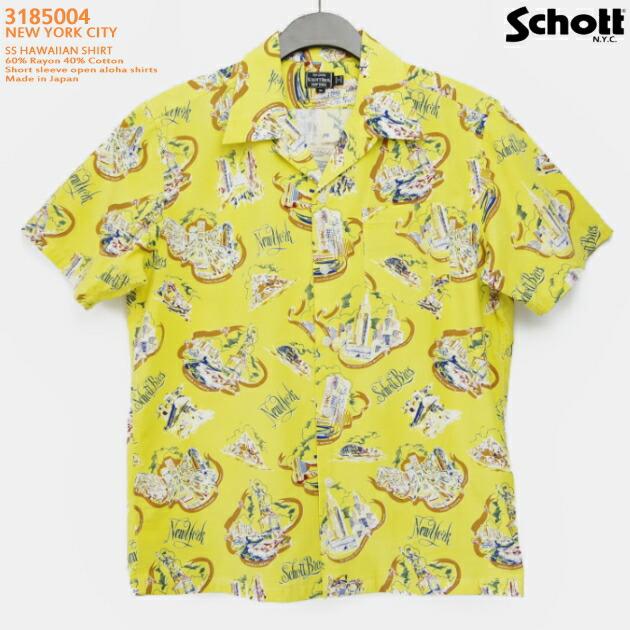 アロハシャツ|ショット(SCHOTT)SCH3185004|NEW YORK CITY(ニューヨークシティ)|マスタード