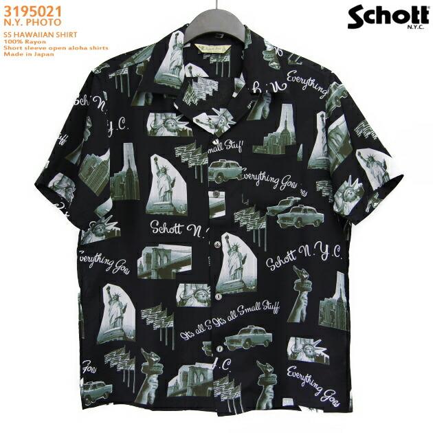 アロハシャツ|ショット(SCHOTT)SCH3195021|N.Y. PHOTO(ニューヨークフォト)|ブラック