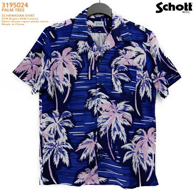 アロハシャツ|ショット(SCHOTT)SCH3195024|PALM TREE(パームツリー)|ネイビー