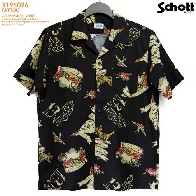 アロハシャツ|ショット(SCHOTT)SCH3195026|TATTOO(タトゥー)|ブラック