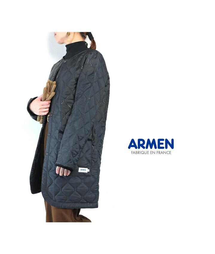 ARMEN/NAM1651PP/HeetQuilt/NoCollarCoat/ヒートキルト/ノーカラーコート/アーメン/レディース/ポリエステル/キルティング/暖か/軽量/中綿/ナイロン/トラッド/膝上丈/アウター/配色/cpoint