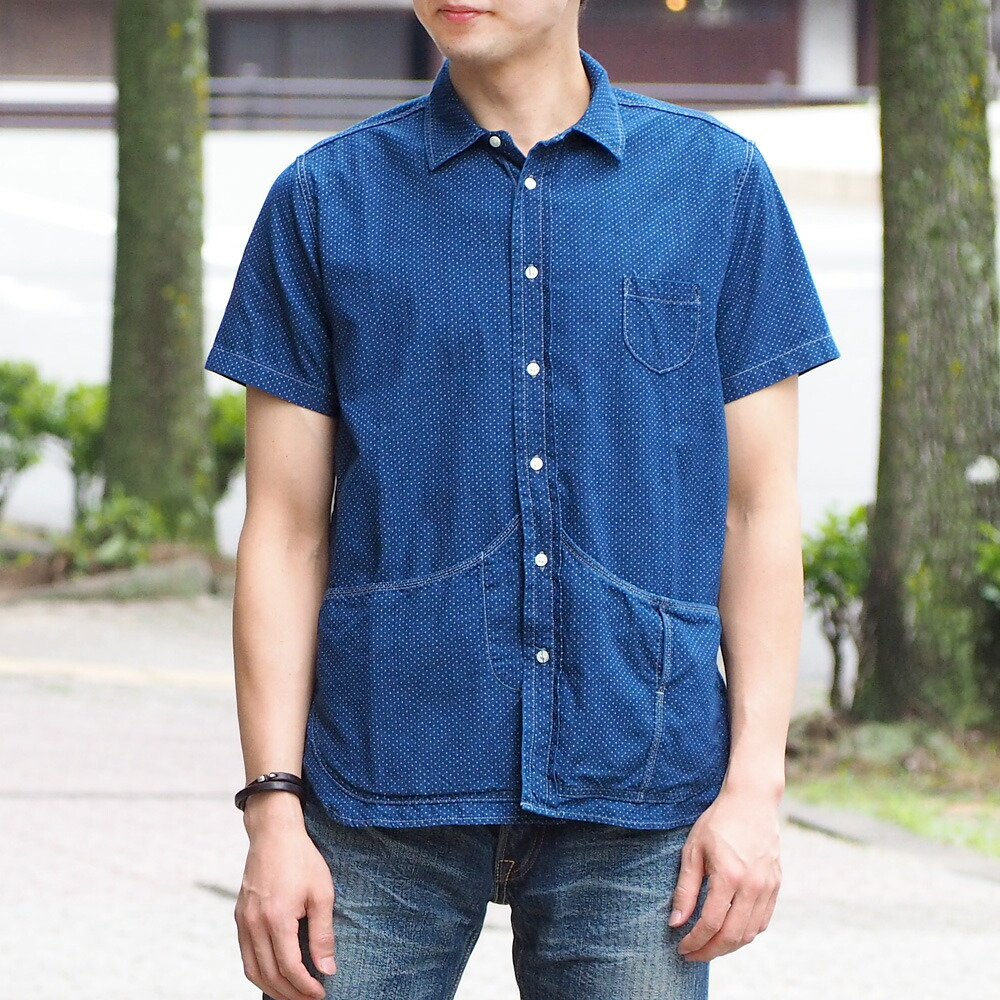 graphzero(グラフゼロ)ヘムポケットシャツ 半袖 インディゴ抜染ドット柄 メンズ [GZ-HMPKS-NP-MENS]