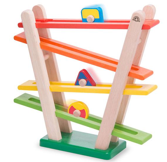 木のおもちゃスロープ|レインボーローラー|