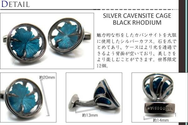 魅力的な形をしたカバンサイトを大胆に使用したシルバーカフス。石を爪でとめてあり、ケースはより光を透過できるよう背面が空いており、美しさをより楽しむことができます。世界限定12個。