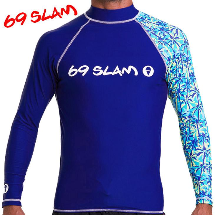 69SLAM ロックスラム PALM TREE BLUE メンズ ラッシュガード メイン画像