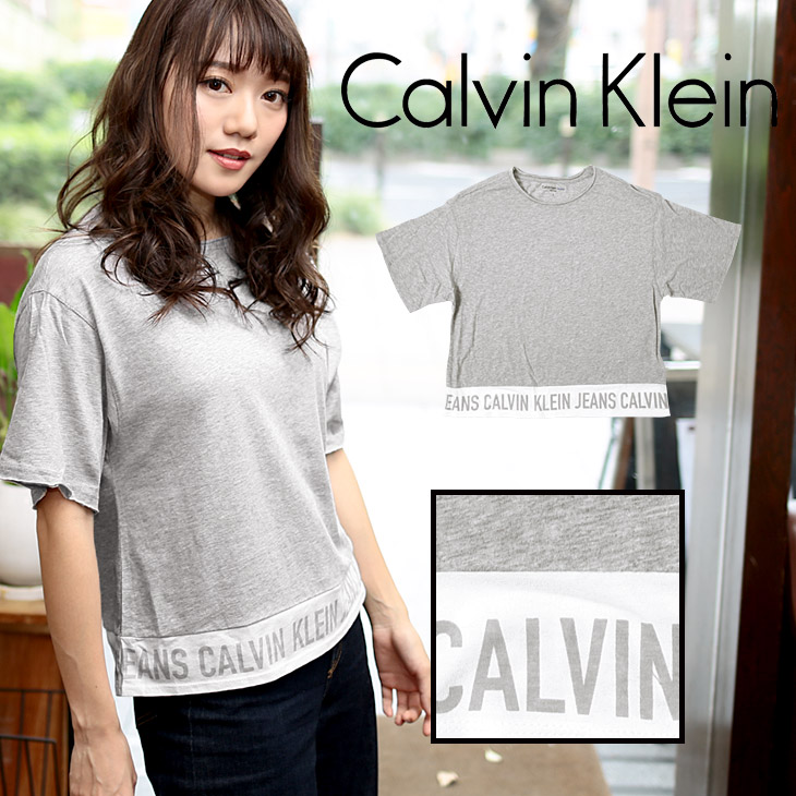 Calvin Klein カルバンクライン MAIN LINE LOGO レディース クルーネック 半袖 Tシャツ メイン画像