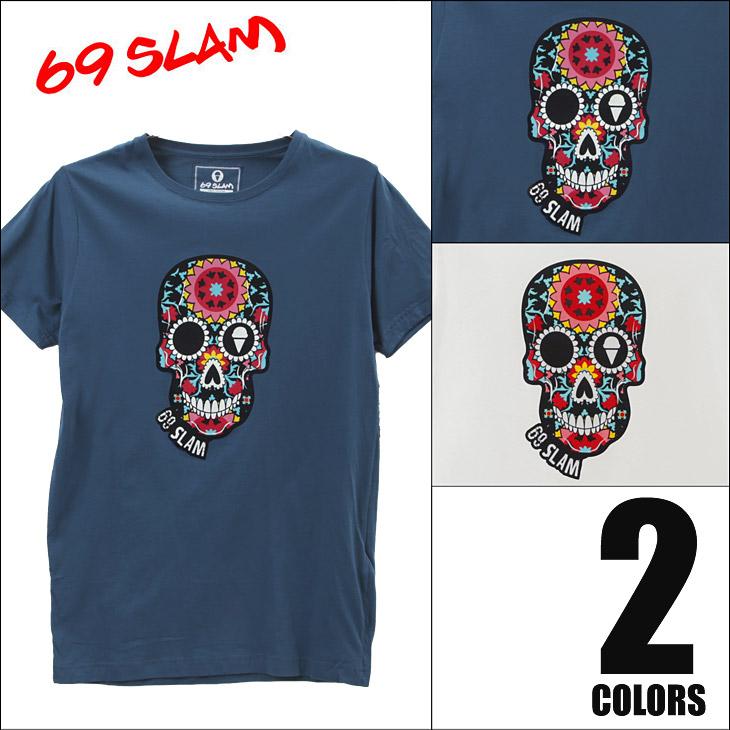 69SLAM ロックスラム FLOWER SKULL メンズ クルーネック 半袖 Tシャツ メイン画像