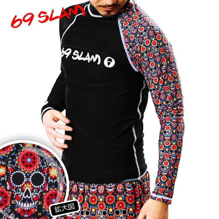 69SLAM ロックスラム FLOWER SKULL メンズ ラッシュガード メイン画像