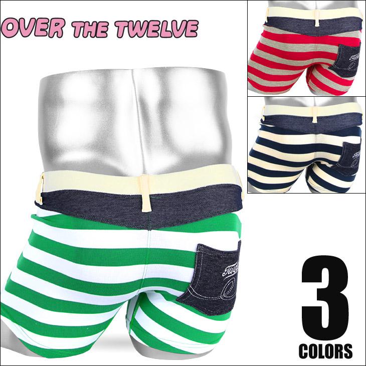OVER THE TWELVE オーバーザトゥエルブ 太ボーダー ベア天竺ポケット付 メンズ ボクサーパンツ メイン画像