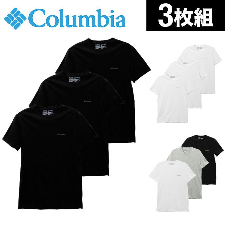 Columbia コロンビア 【3枚組セット】コットン100% メンズ 半袖 Vネック Tシャツ メイン画像
