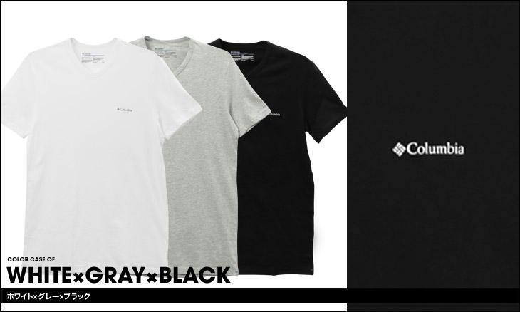 Columbia コロンビア 【3枚組セット】コットン100% メンズ 半袖 Vネック Tシャツ カラー画像