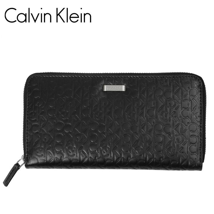 Calvin Klein カルバンクライン ロゴ型押し ラウンドファスナー 長財布 メイン画像