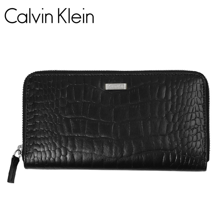 Calvin Klein カルバンクライン クロコ型押し メンズ ラウンドファスナー長財布 メイン画像