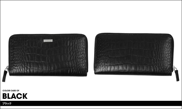 Calvin Klein カルバンクライン クロコ型押し メンズ ラウンドファスナー長財布 カラー画像