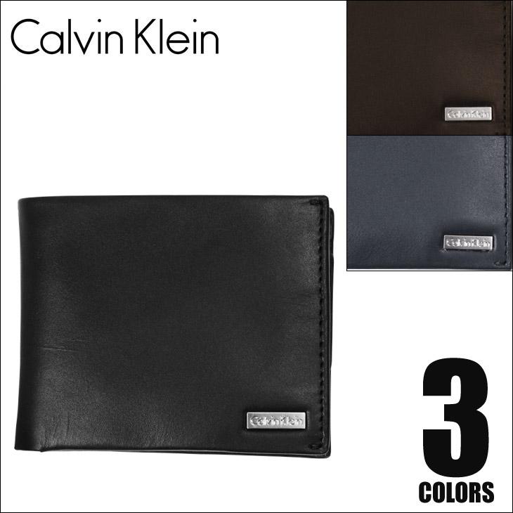 Calvin Klein カルバンクライン メタルロゴ メンズ 二つ折り財布 メイン画像