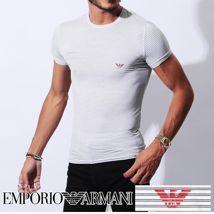 EMPORIO ARMANI エンポリオアルマーニ SAILOR STRIPED MACRO メンズ 半袖 クルーネック Tシャツ メイン画像