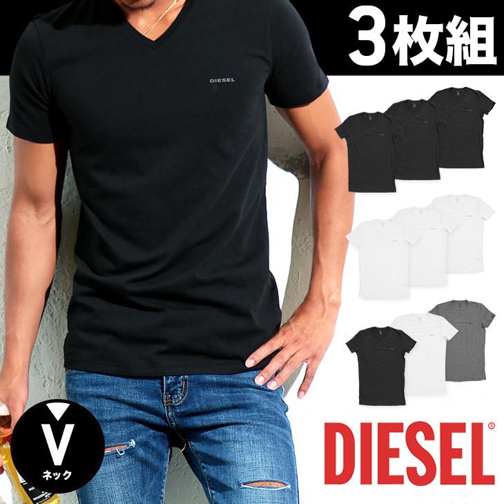 DIESEL ディーゼル Essentials 3枚組 メンズ Vネック 半袖 Tシャツ メイン画像