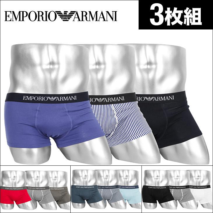 EMPORIO ARMANI エンポリオアルマーニ 【3枚組セット】PURE COTTON MULTIPACK メンズ ローライズボクサーパンツ メイン画像