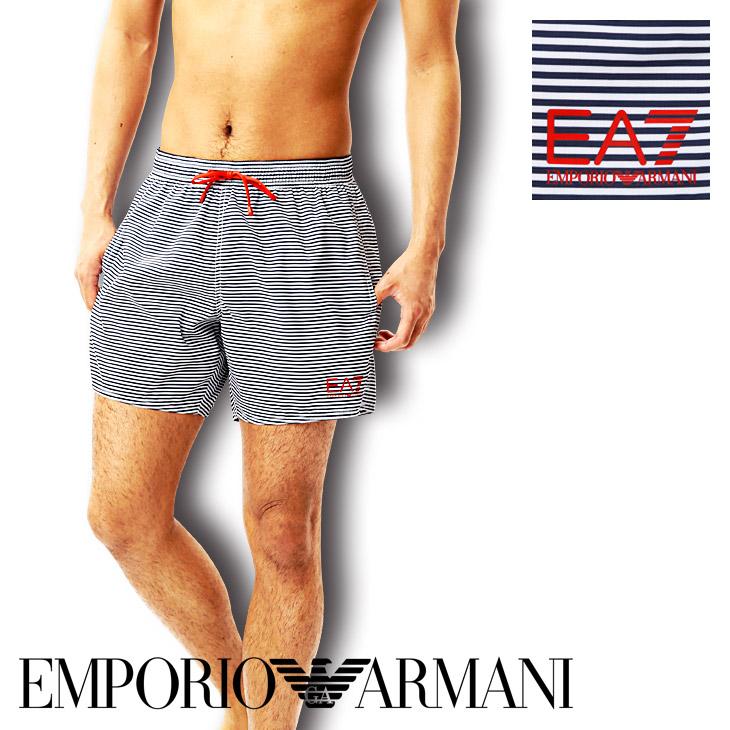 EMPORIO ARMANI エンポリオアルマーニ SEA WORLD BW STRIPES M BOXER サーフパンツ メイン画像