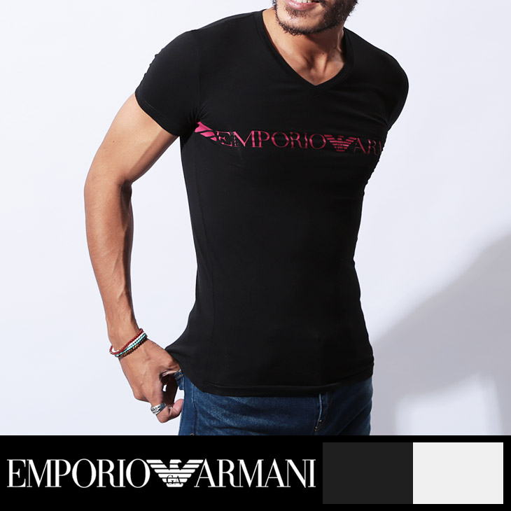 EMPORIO ARMANI エンポリオアルマーニ Standard logo メンズ 半袖 Vネック Tシャツ メイン画像