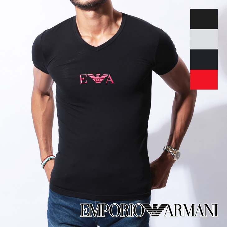 EMPORIO ARMANI エンポリオアルマーニ FRONTOLOGO メンズ Vネック 半袖 Tシャツ メイン画像