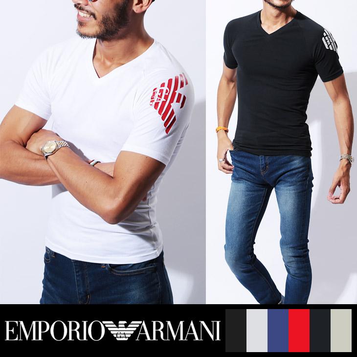 EMPORIO ARMANI エンポリオアルマーニ shoulder rubber logo メンズ 半袖 Vネック Tシャツ メイン画像