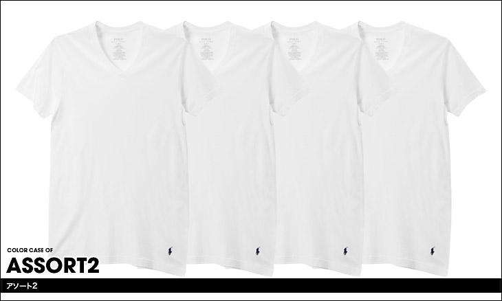 POLO RALPH LAUREN ポロ ラルフローレン 【4枚組セット】LHVNP4 メンズ Vネック 半袖 Tシャツ カラー画像