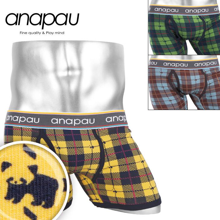 anapau アナパウ レッサ—パンダチェック メンズ ボクサーパンツ メイン画像