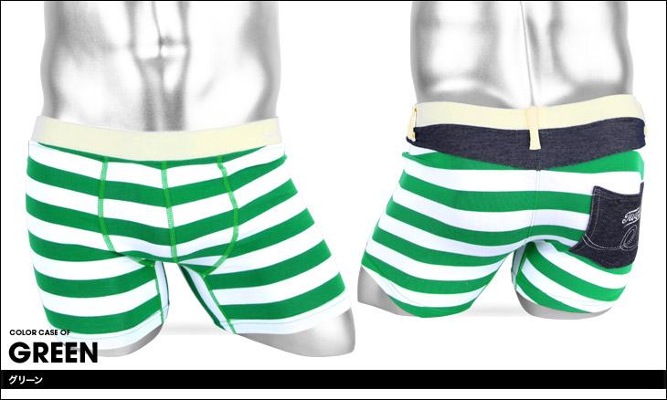 OVER THE TWELVE オーバーザトゥエルブ 太ボーダー ベア天竺ポケット付 メンズ ボクサーパンツ カラー画像