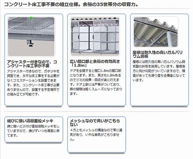 コンクリート床工事不要の組立仕様。余裕の35世帯分の収容力。