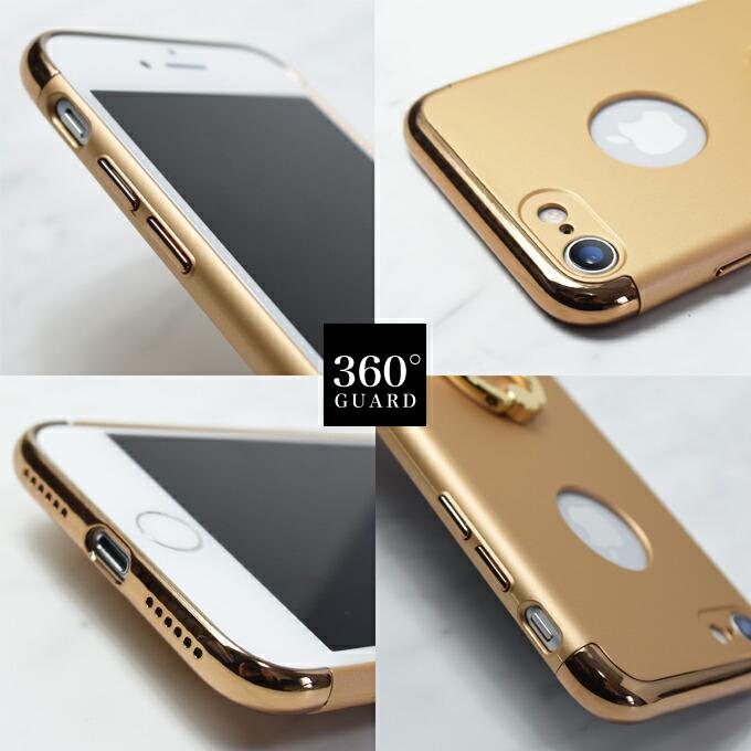 e6b398ccff iPhone8 iPhone7 iPhoneX ケース [ リング付きケース ] 全面保護 360度 スマホリング 一体型