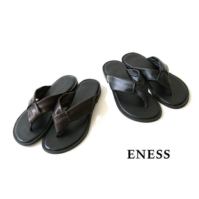 ENESS *エネス レザートングフラットサンダル