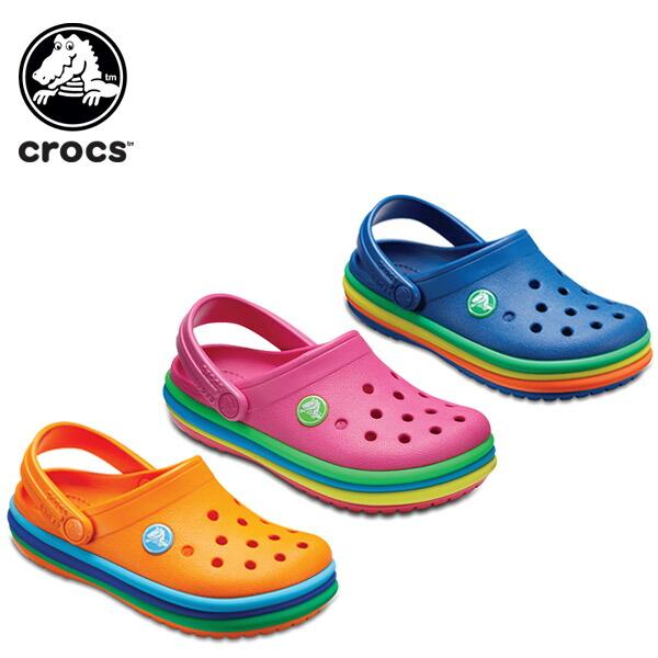 クロックバンド レインボー バンド クロッグ キッズ(crocband rainbow band clog kids)| キッズ用サンダル