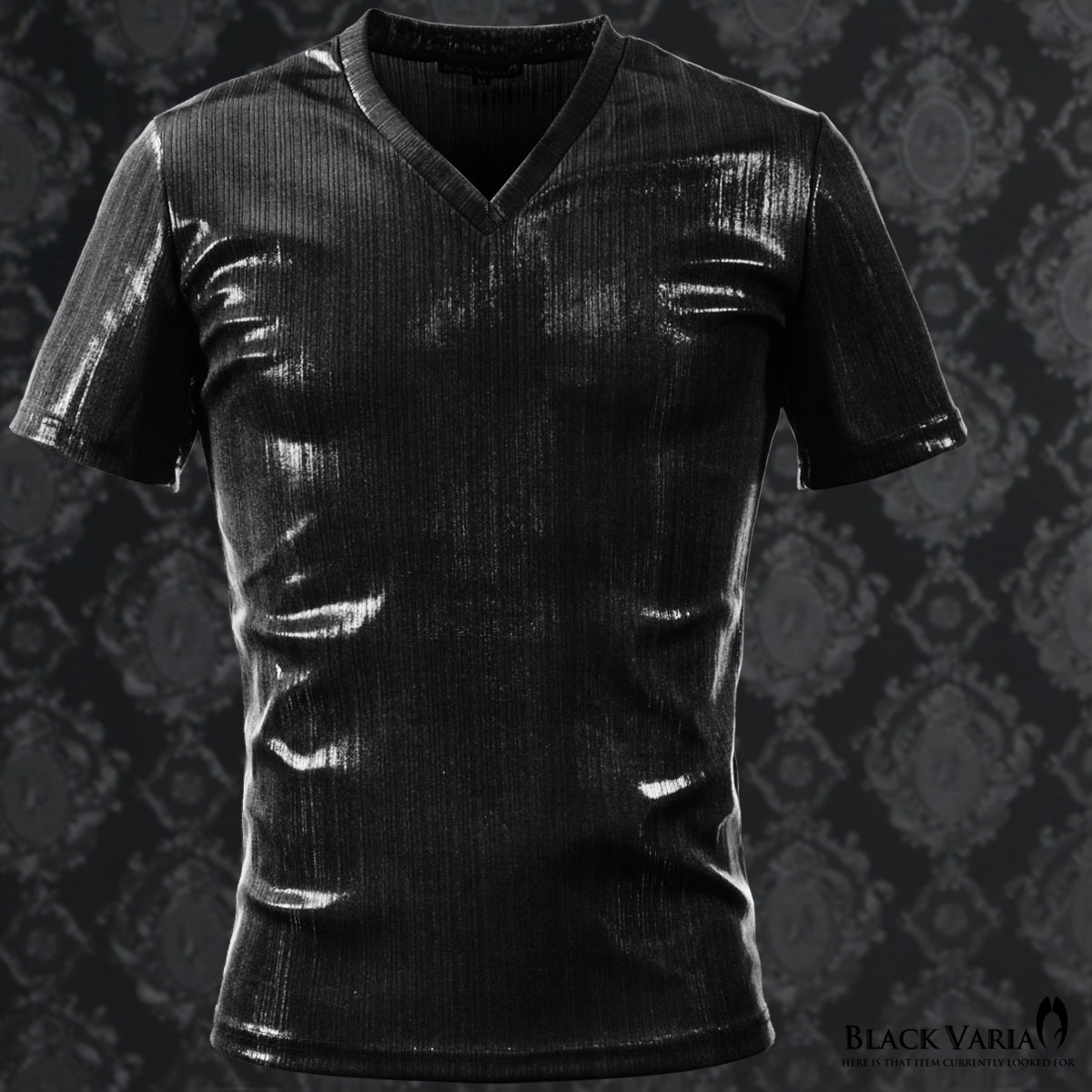 Tシャツ ラメ ストライプ Vネック 半袖 メンズ 日本製 細身 無地 光沢 箔プリント 半袖Tシャツ(ブラック黒)