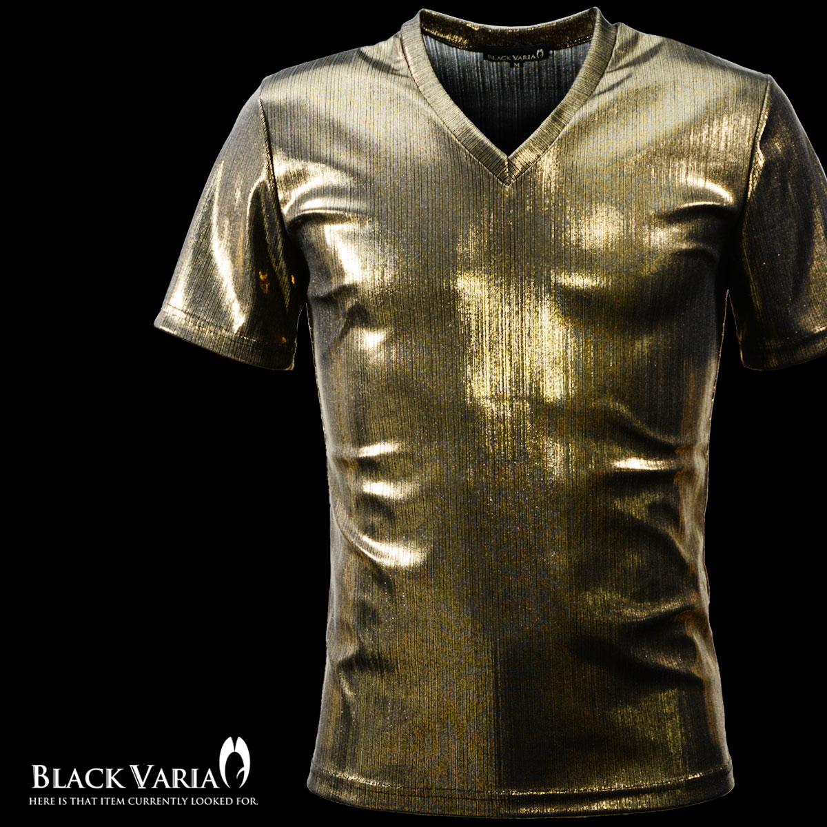 Tシャツ ラメ ストライプ Vネック 半袖 メンズ 日本製 細身 無地 光沢 箔プリント 半袖Tシャツ(ゴールド金)