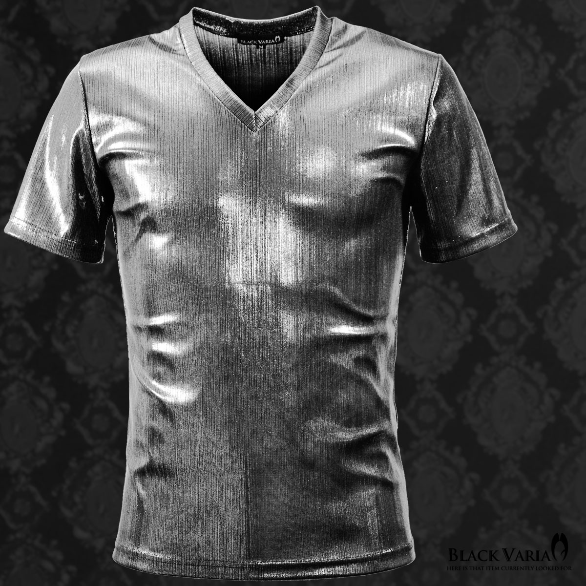 Tシャツ ラメ ストライプ Vネック 半袖 メンズ 日本製 細身 無地 光沢 箔プリント 半袖Tシャツ(シルバー銀)
