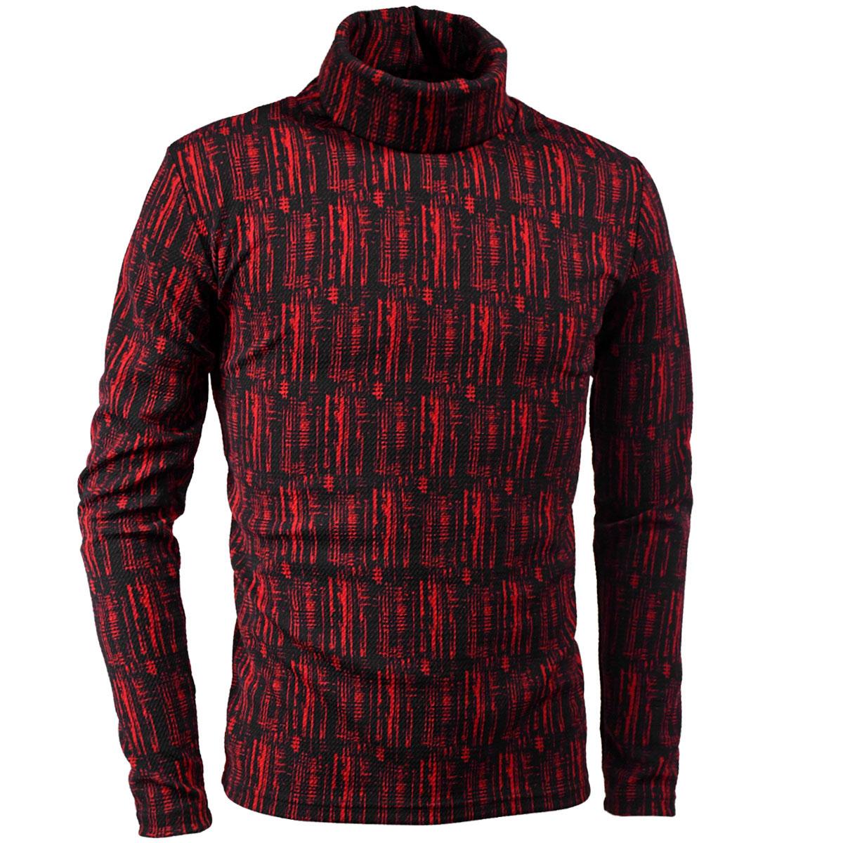 タートルネックシャツ ストライプ ムラ柄 メンズ 膨れジャガード 長袖 ストレッチ 日本製 mens(レッド赤ブラック黒)