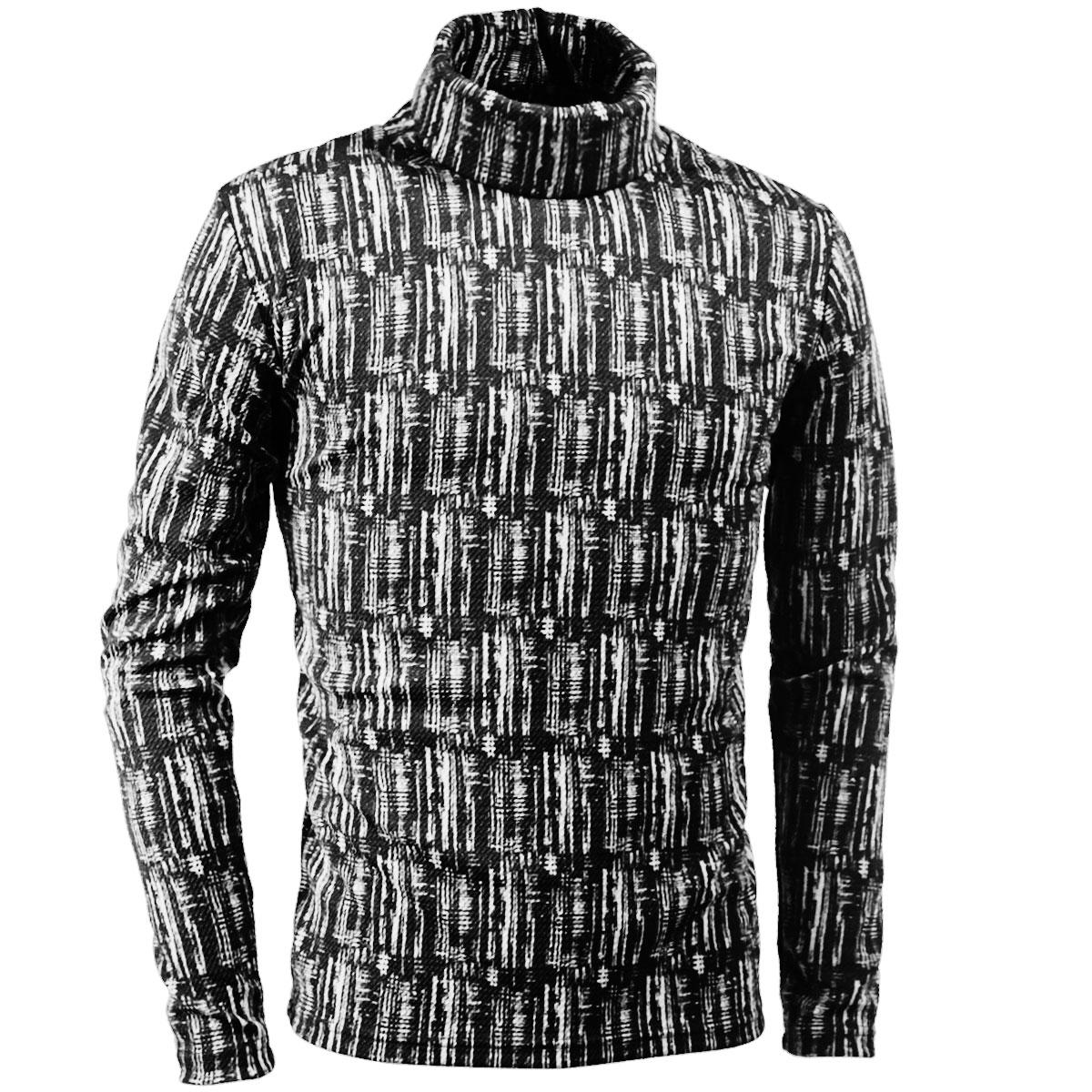 タートルネックシャツ ストライプ ムラ柄 メンズ 膨れジャガード 長袖 ストレッチ 日本製 mens(ホワイト白ブラック黒)