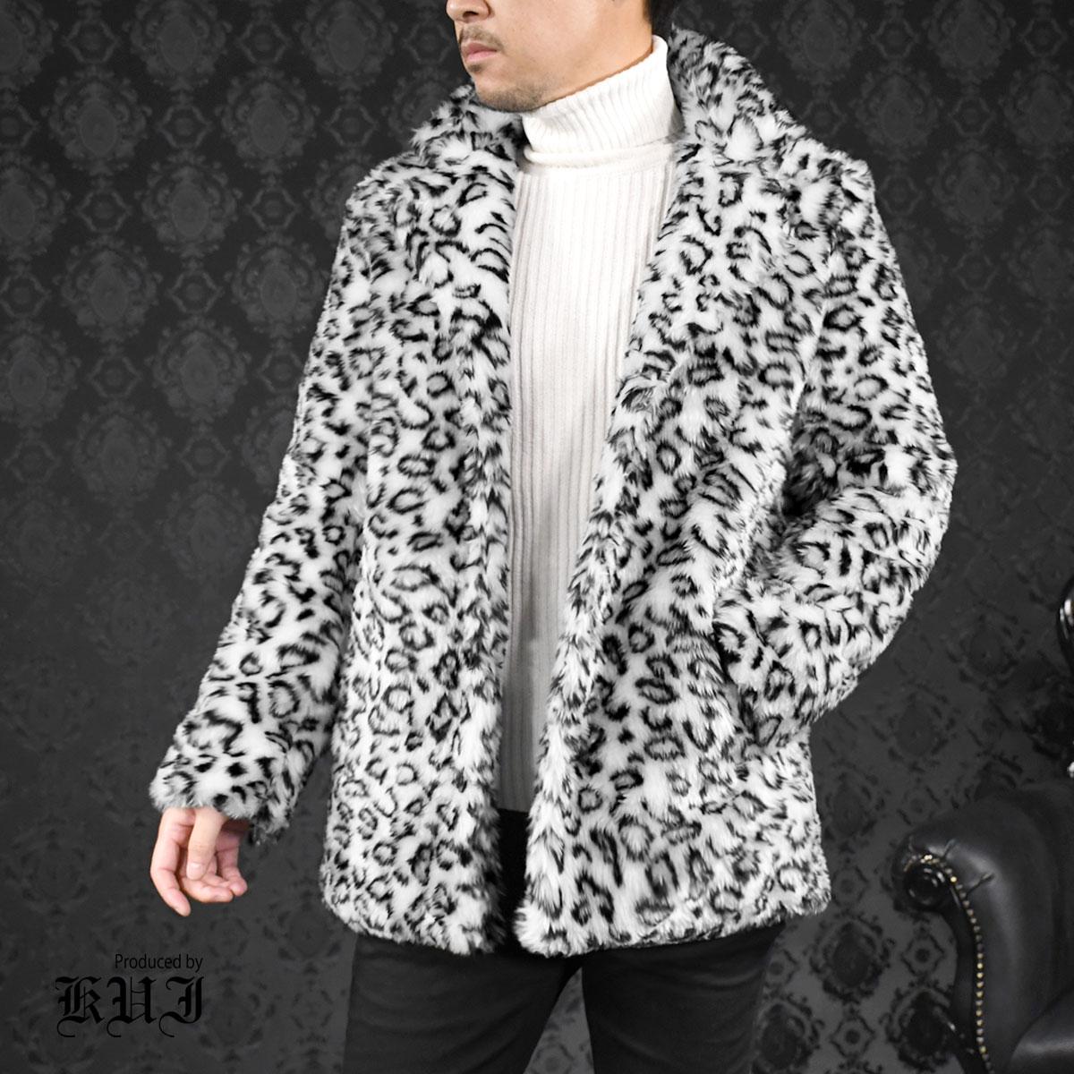 ファージャケット ヒョウ 豹柄 メンズ フェイクファー アウター テーラードジャケット mens(グレー灰レオパード豹柄)