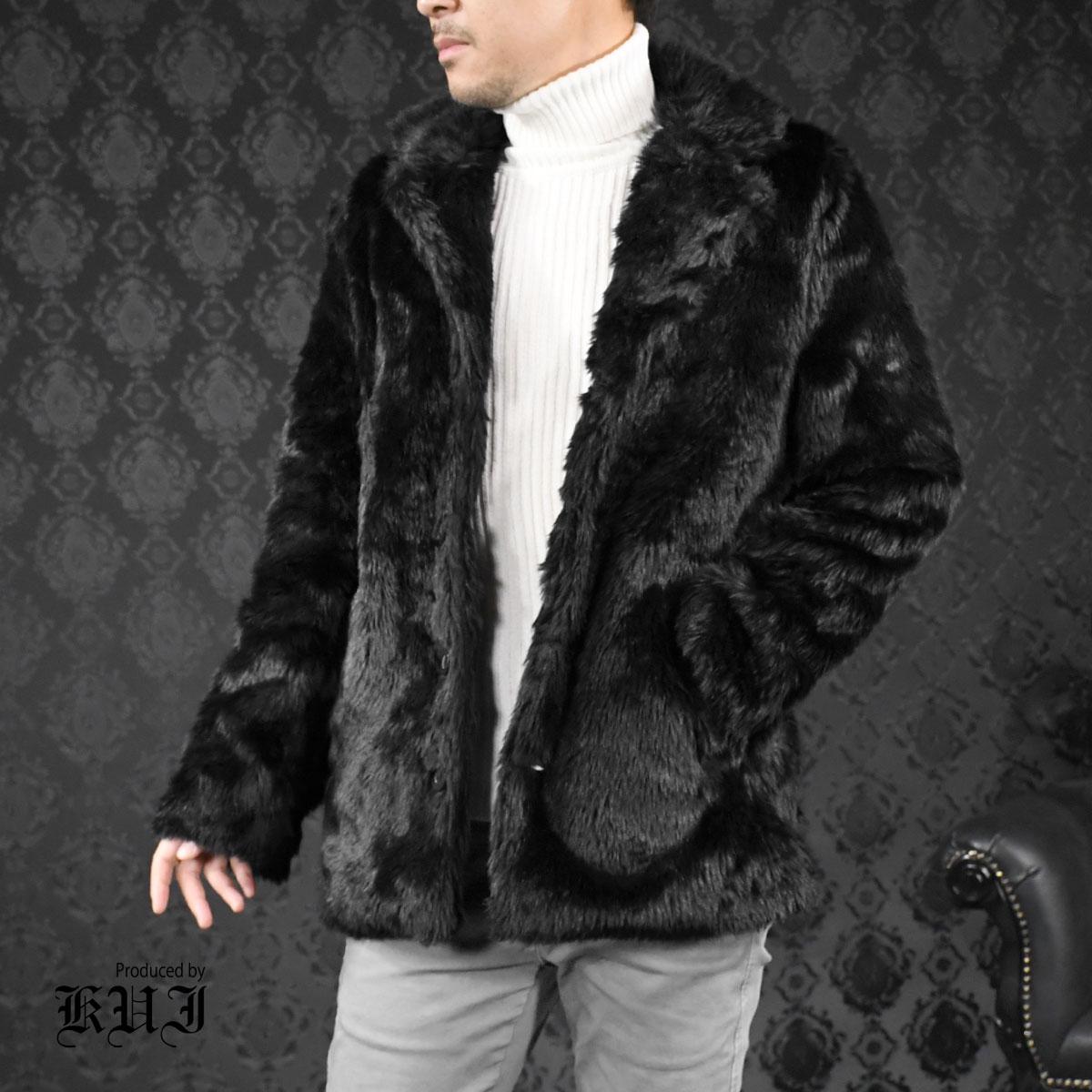 ファージャケット ヒョウ 豹柄 メンズ フェイクファー アウター テーラードジャケット mens(ブラック黒)