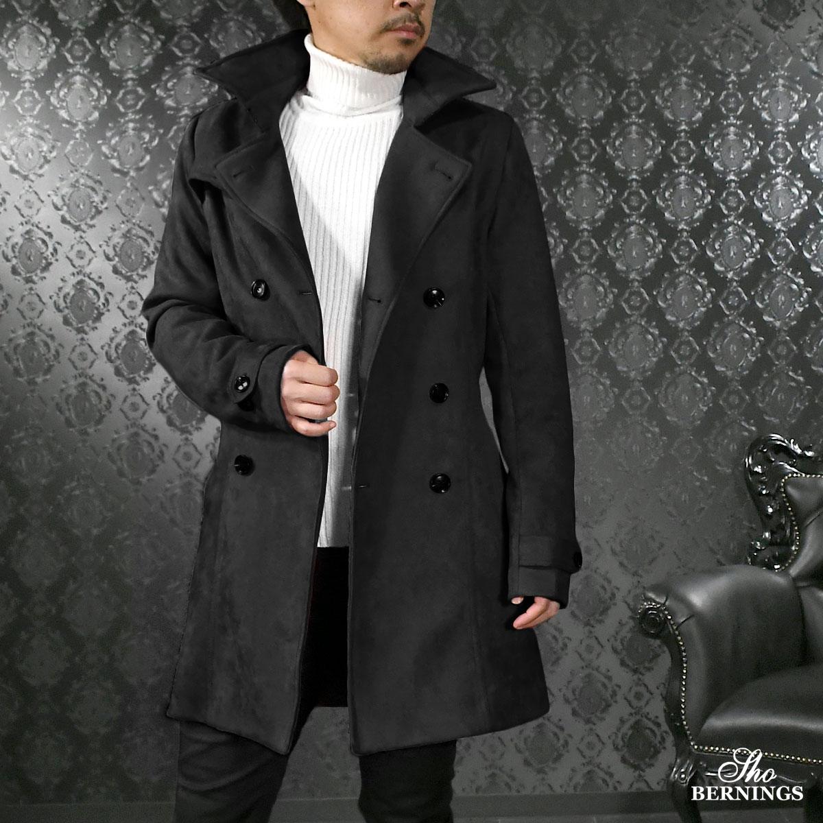 トレンチコート フェイクスウェード メンズ ロング丈 ダブル ロングコート mens(ブラック黒)