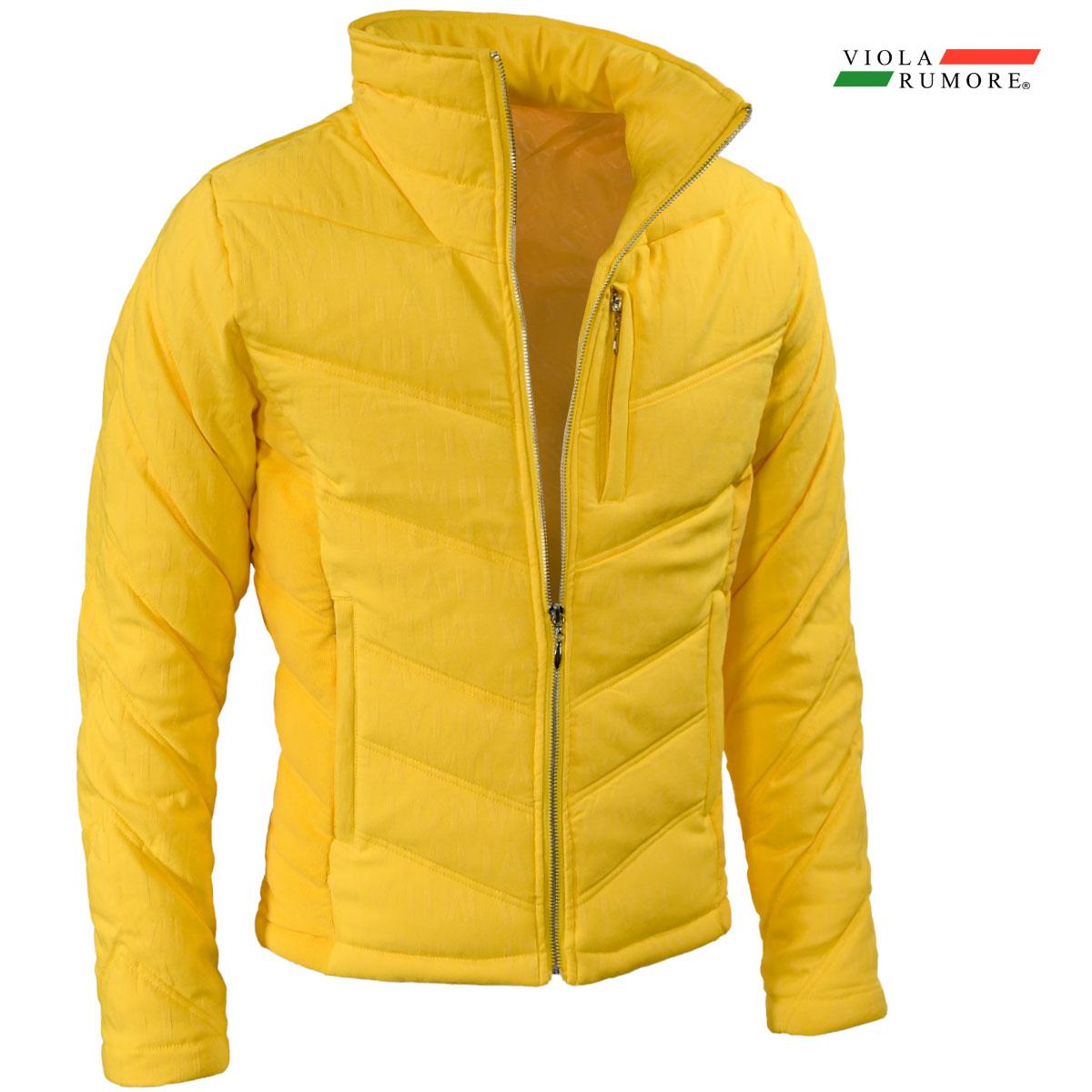 VIOLA rumore ヴィオラ ビオラ 中綿ジャケット メンズ ジャガード 切り替え アウター フルジップジャケット mens(イエロー黄)