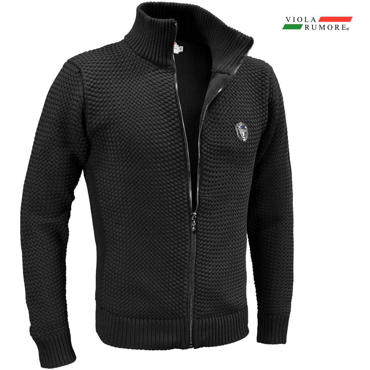 VIOLA rumore ヴィオラ ビオラ ニット フルジップアップ メンズ バスケット編み ニットジャケット 5ゲージ mens(ブラック黒)